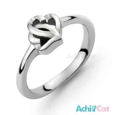 AchiCat 珠寶白鋼戒指尾戒 心心相印 愛心
