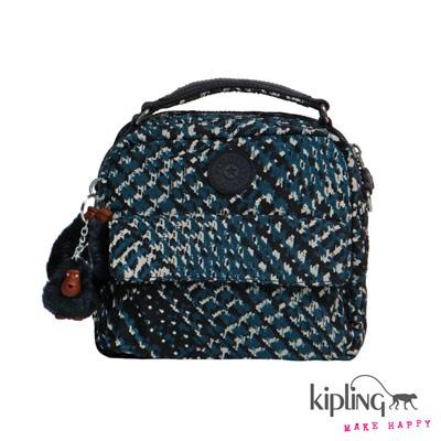 Kipling-後背包-藍白千鳥格印花