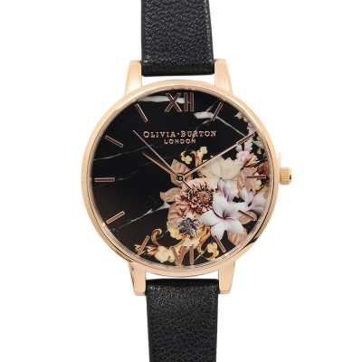 Olivia Burton 大理石花卉紋路黑色真皮錶帶玫瑰金框-38mm