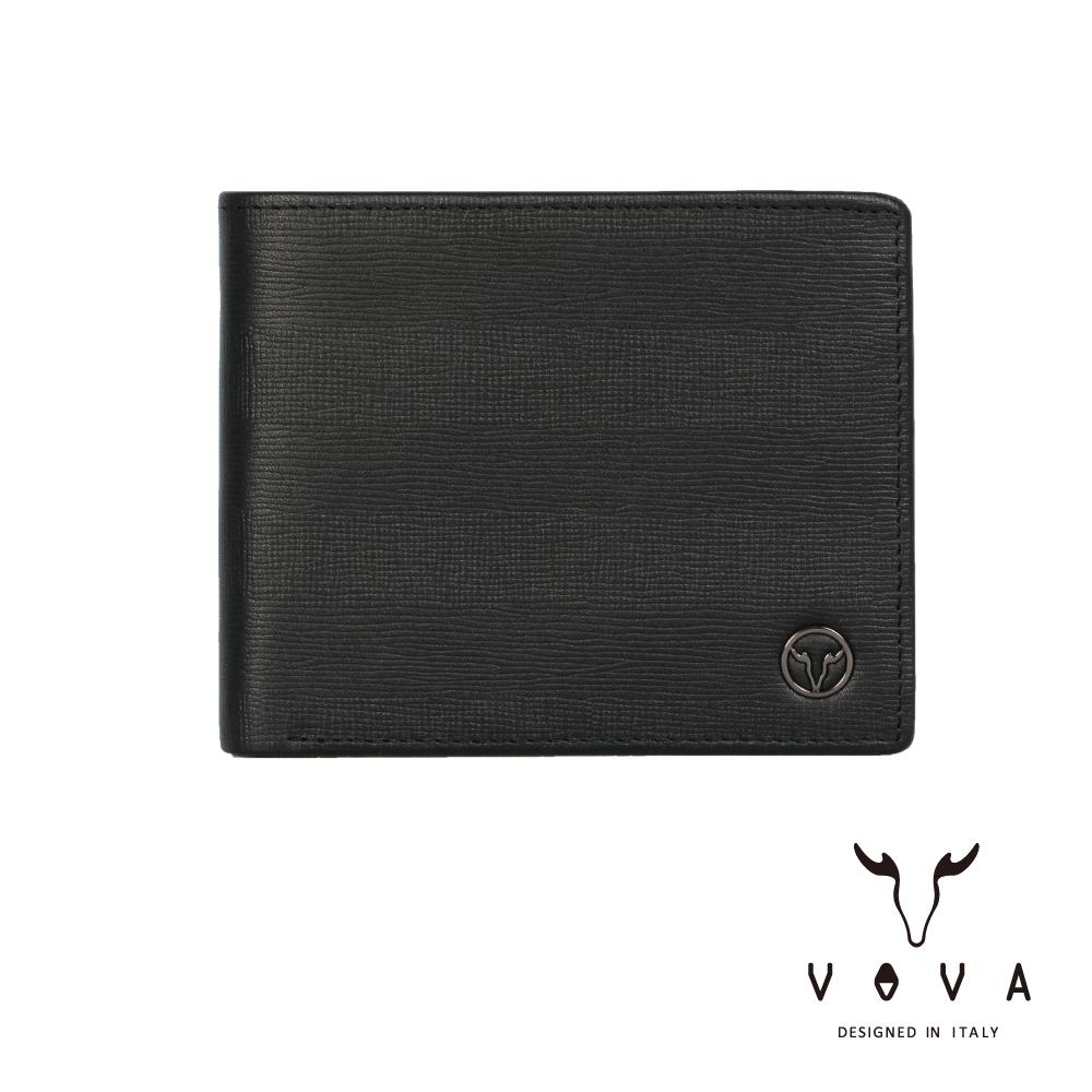 VOVA - SEAL印璽系列9卡中間翻透明窗AI紋皮夾 - 黑色