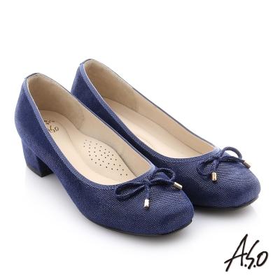 A.S.O 個性美型 絨面羊皮立體蝴蝶結真皮質感中跟鞋 深藍色