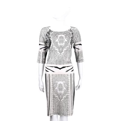 CLASS roberto cavalli 黑白拼接圖騰印花七分袖洋裝