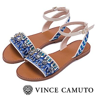 Vince Camuto 蔚藍寶石一字平底涼鞋-藍色