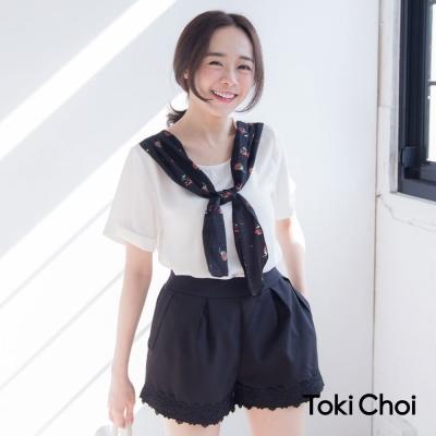東京著衣 印花領結短袖雪紡上衣-XS.S.M(共二色)