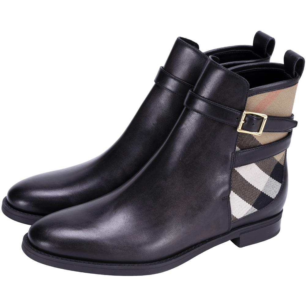 BURBERRY HOUSE 經典格紋拼接踝靴(黑色)