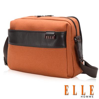 ELLE HOMME 時尚 橫式立體IPAD置物扣層 側背包 精湛頂級頭層皮時髦設計款-橘