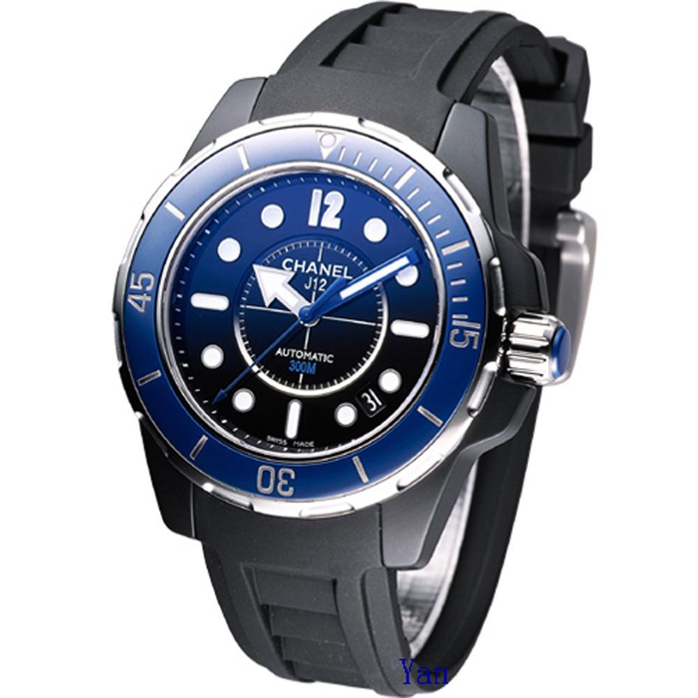 CHANEL香奈兒 J12 MARINE 經典陶瓷機械錶-黑/藍框/38mm