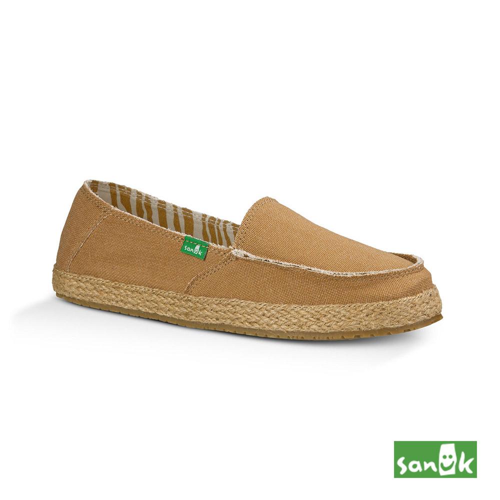SANUK 草編底帆布休閒鞋-女款(褐色)