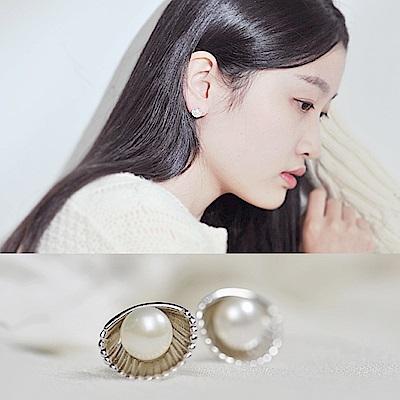 梨花HaNA 韓國925銀貝類維納斯女神珍珠耳環