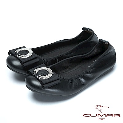 CUMAR舒適真皮-圓形水鑽裝飾真皮莫卡辛鞋-黑色