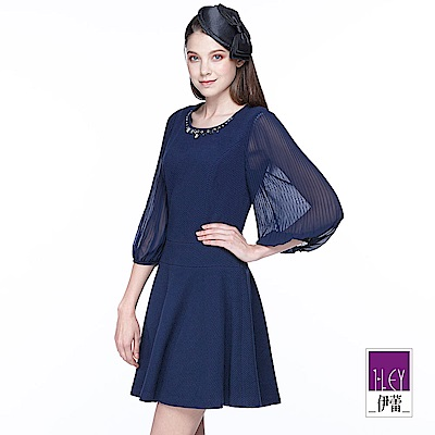 ILEY伊蕾 藍調優雅異素材拼接洋裝(藍)