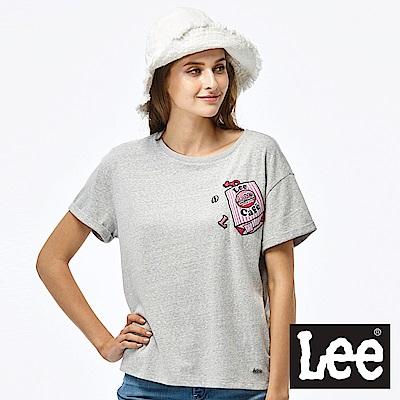 Lee LEE CAF?貼布短袖圓領TEE-女款-灰色