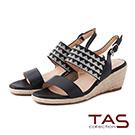 TAS 幾何圖騰燙鑽寬繫帶楔型涼鞋-摩登黑