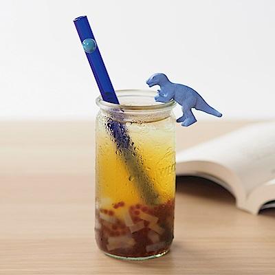 美國strawesome手工玻璃吸管/寬口直式-藍晶(海洋藍)