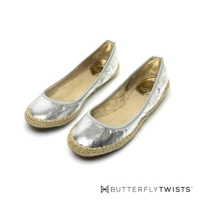 BUTTERFLY TWISTS-仿草編 記憶軟墊平底鞋-閃耀銀