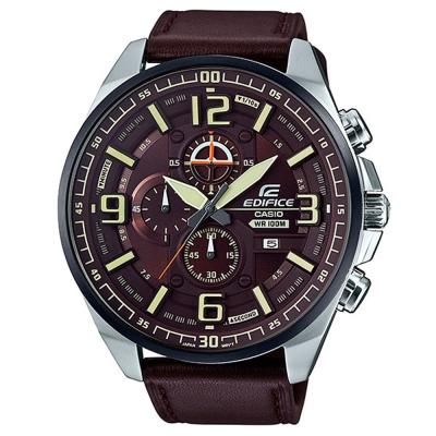 EDIFICE超大表面設計城市科技感賽車皮帶錶(EFR-555BL-<b>5</b>)咖啡X黑框55mm
