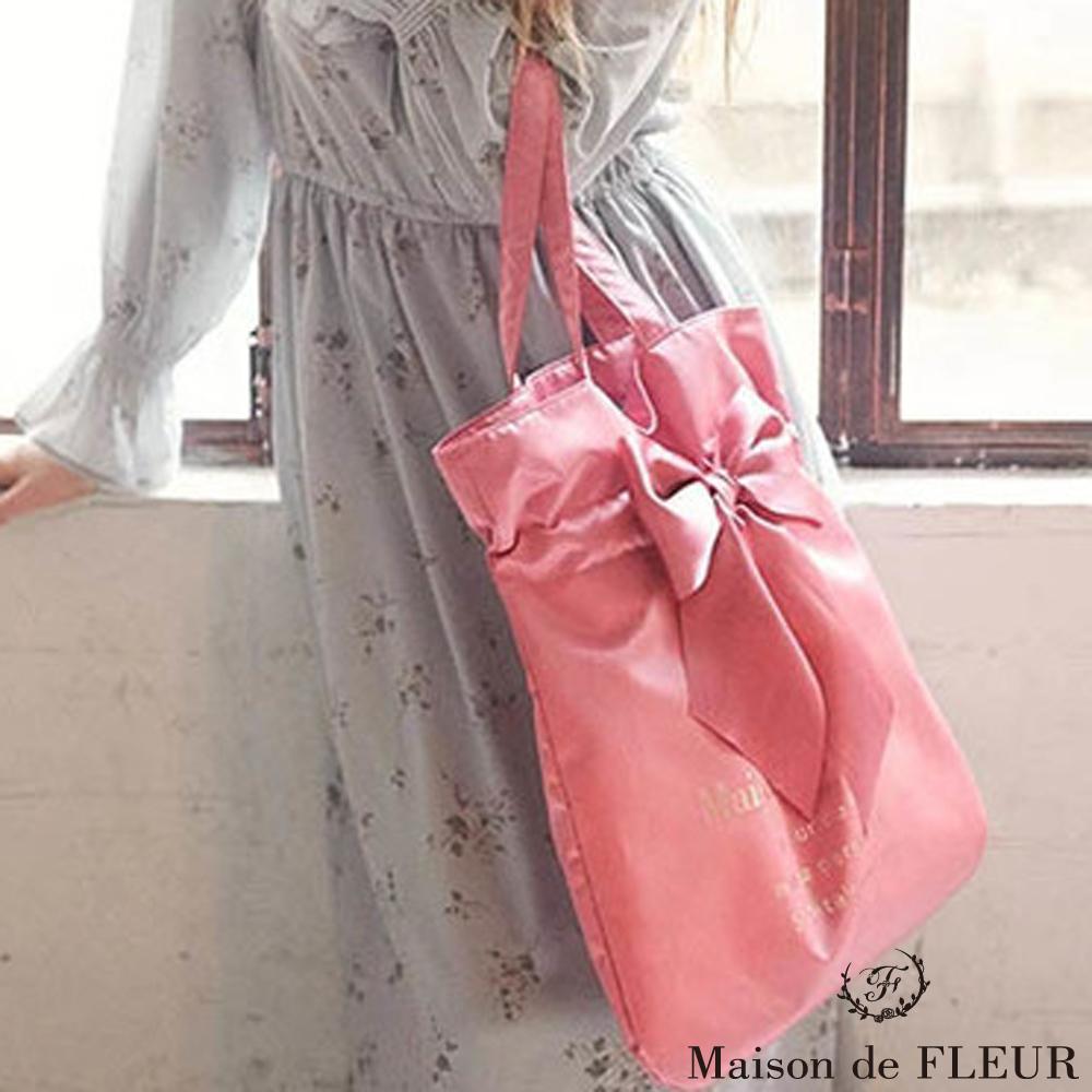 Maison de FLEUR 蝴蝶結絲帶手提包