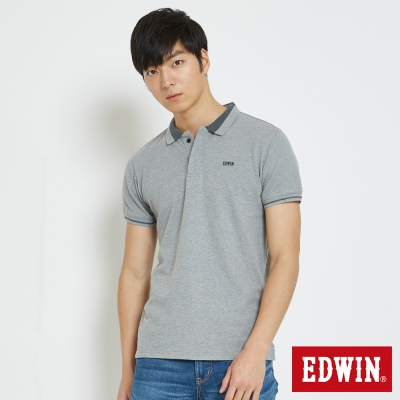 EDWIN 配色領簡約POLO衫-男-灰色