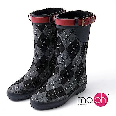 mo.oh 愛雨天-格紋搭扣柔軟毛呢中筒雨鞋