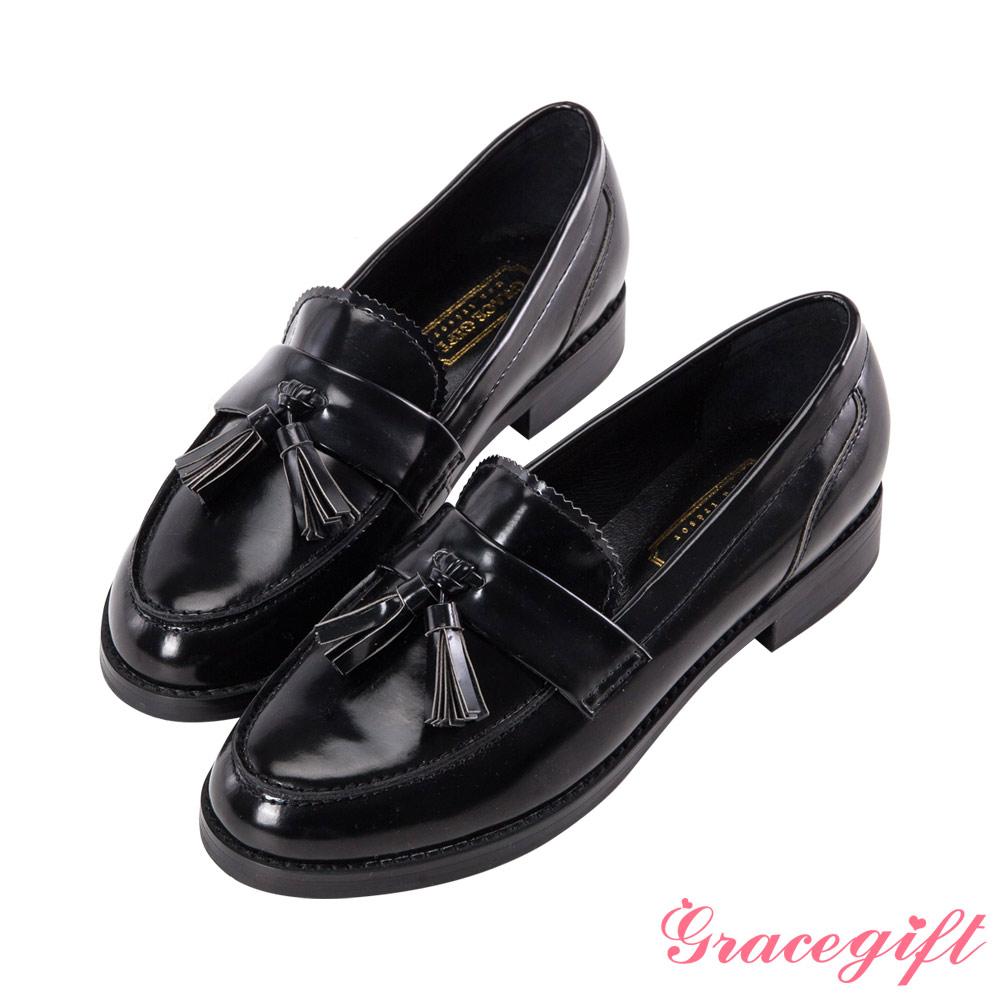 Grace gift-復古流蘇樂福鞋 黑