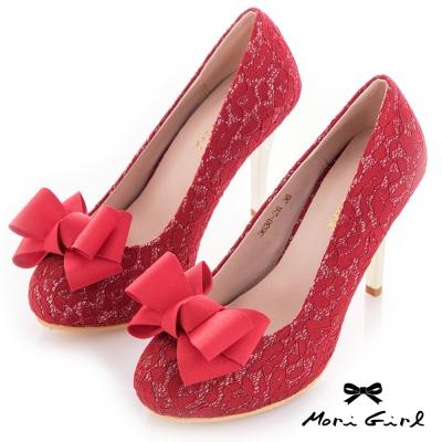 Mori girl 優雅可拆式立體蝴蝶結蕾絲高跟婚鞋 紅