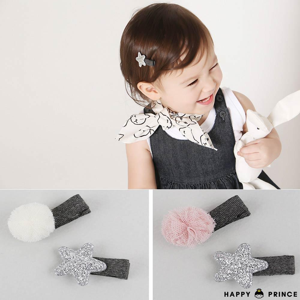 韓國 Happy Prince 蕾絲球球星星 髮夾2件組