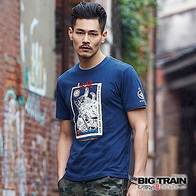 BIG TRAIN 水滸九紋龍短袖-男-深藍