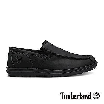 Timberland 男款黑色絨面防滑皮革方頭便鞋