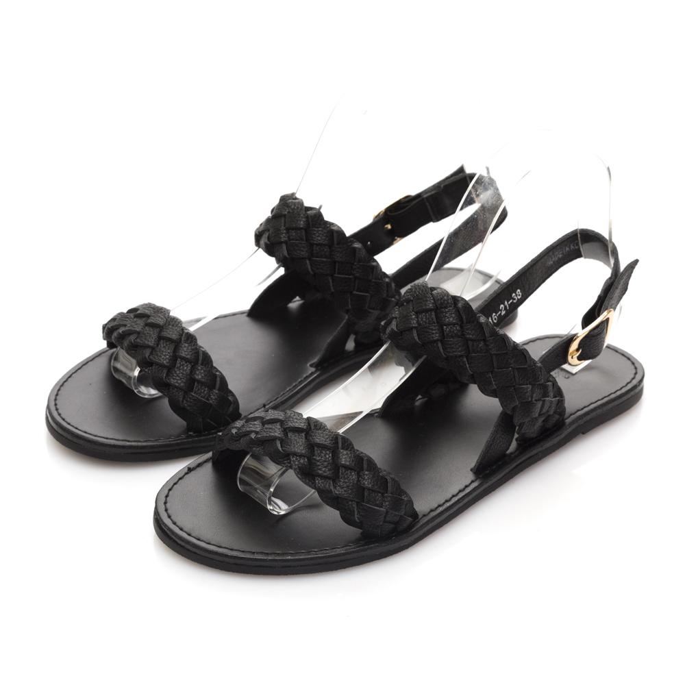 JMS-簡約質感一字編織平底涼鞋-黑色