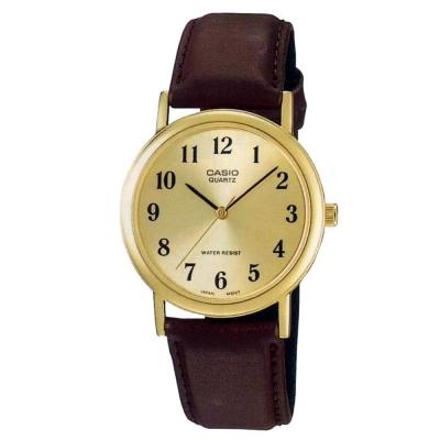 CASIO 經典簡約時尚皮帶紳士腕錶-黃面x咖啡/35mm