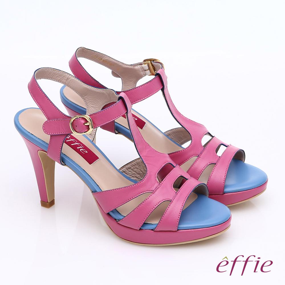 effie 分子點心 全真皮T字帶縷空高跟涼鞋 粉紅色