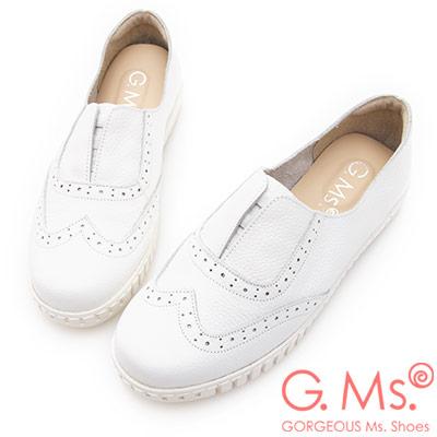 G.Ms. MIT系列-馬卡龍色系牛津免綁帶牛皮白底休閒鞋-白色