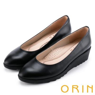 ORIN 簡約典雅 素面牛皮厚底娃娃鞋-霧黑