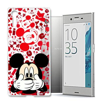 迪士尼 SONY Xperia XZ 大頭透明軟性手機殼(摀嘴米奇)
