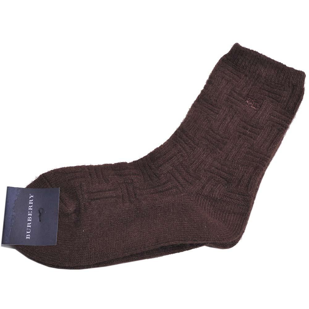 BURBERRY 戰馬LOGO圖騰刺繡編織織紋女毛襪(咖啡)