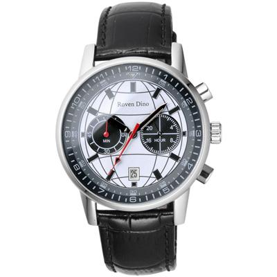 Roven Dino 神秘元素地球紋雙眼計時腕錶-白/41mm