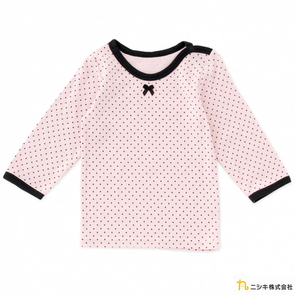 Nishiki 日本株式會社 粉底點點蝴蝶結肩開扣長袖上衣