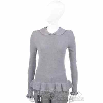VALENTINO 灰色荷葉造型針織上衣