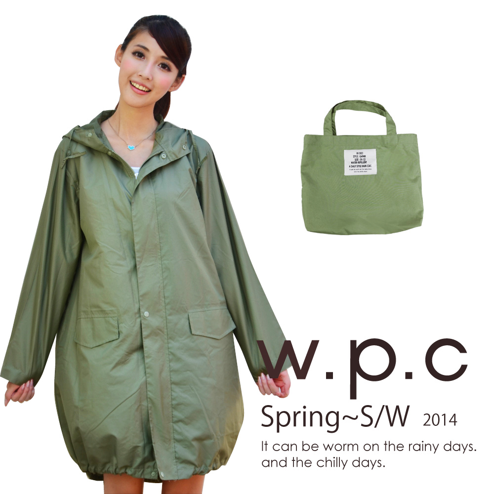 w.p.c. 束口綁繩款。時尚雨衣/風衣(R1003)_橄欖綠