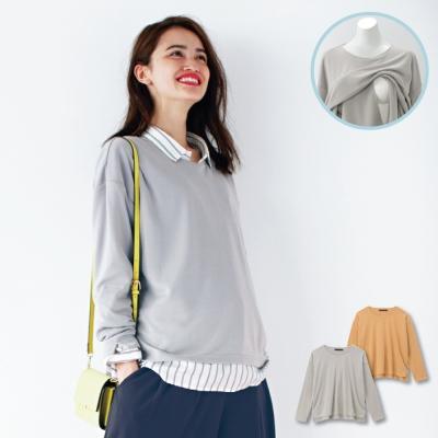 日本Akasugu-圓領百搭哺乳長袖上衣-灰-芥黃可選