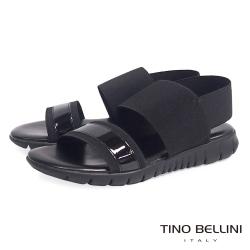 Tino Bellini 義大利進口時髦運動休閒繃帶平底涼鞋_黑
