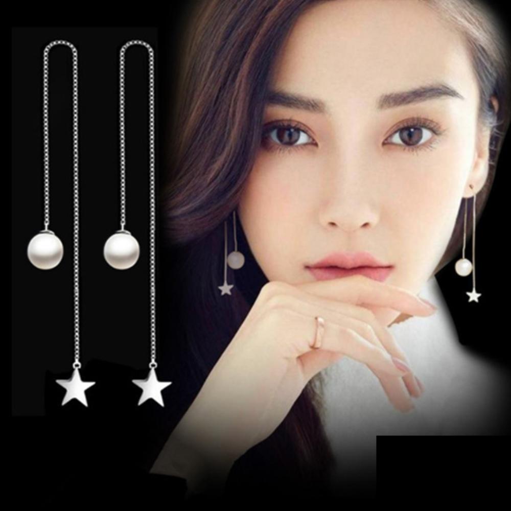 梨花HaNA 韓國925銀女神珍珠星芒耳線長耳環