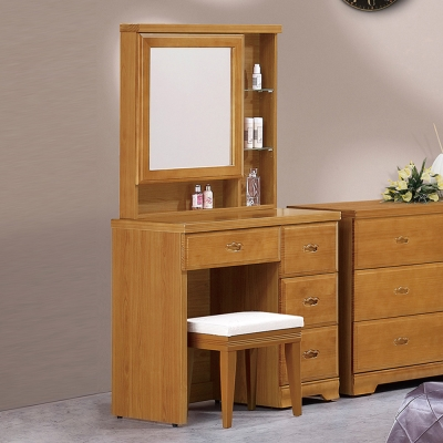 Boden-羅伊3尺實木化妝桌/鏡台(贈化妝椅)-91x44x163cm