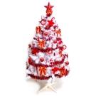 台製5尺(150cm)豪華白色聖誕樹(純紅色系配件)(不含燈)