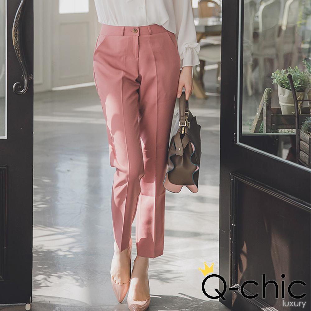正韓 乾燥花色簡約壓摺西裝褲 (共五色)-Q-chic