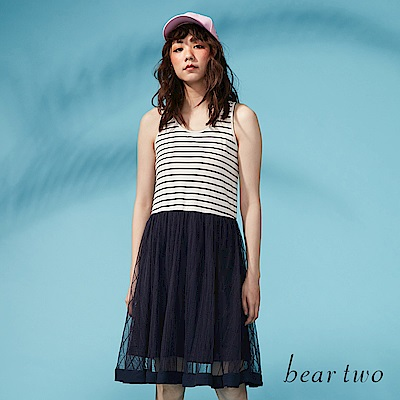 beartwo 網路獨家-連身條紋拼接紗裙洋裝(二色)