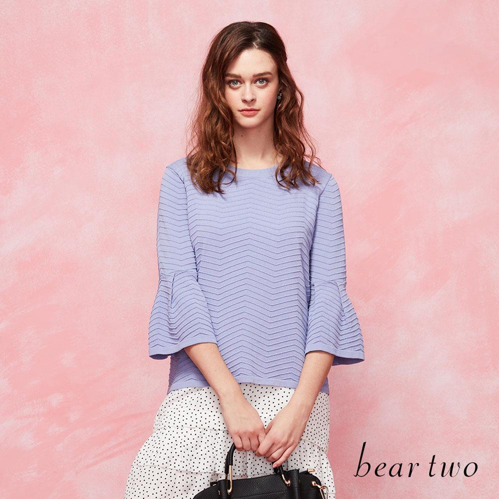 beartwo 優雅滿分立體織紋傘型袖造型針織衫(二色)