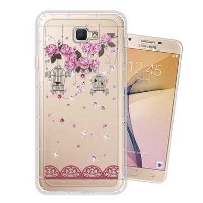 WT Samsung Galaxy J7 Prime 奧地利水晶彩繪空壓手機殼(...