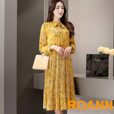 復古印花長款洋裝 (姜黃色)-ROANN