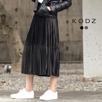 東京著衣-KODZ 歐美爆款金屬感不規則壓褶長裙-S.M.L(共二色)